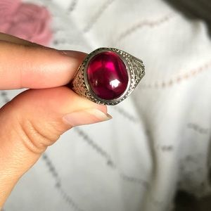 925 Sterling Silver Ruby CZ Unisex Ring